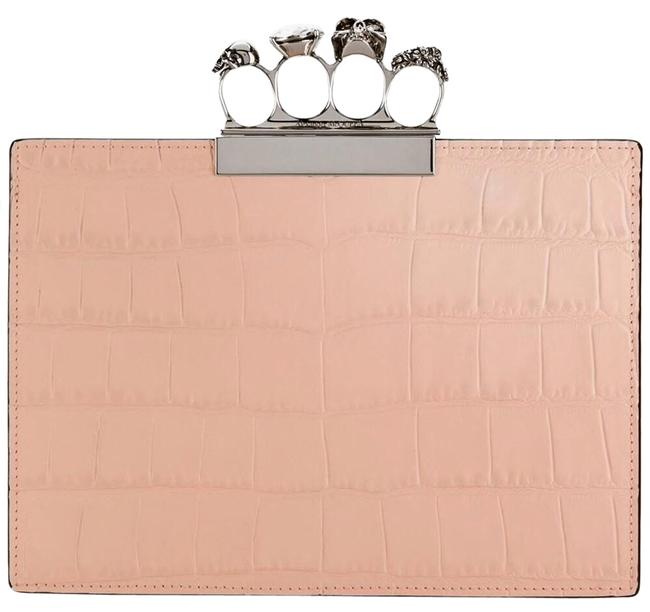 Item - Small Knuckle Duster Pink Salmon Embossed Croc Calfskin Leather Clutch