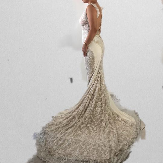 Ines Di Santo Ivory Lace Tulle Silk Feminine Wedding Dress Size 2 (XS) Image 1