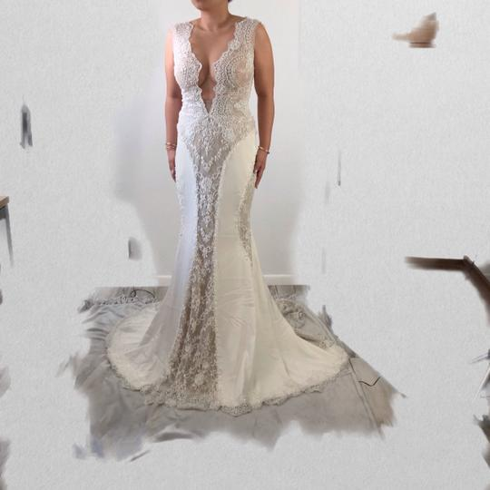 Ines Di Santo Ivory Lace Tulle Silk Feminine Wedding Dress Size 2 (XS) Image 5