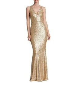 Dress the Population Gold Sequin Harper Mermaid Gown Formal Bridesmaid/Mob Dress Size 8 (M)