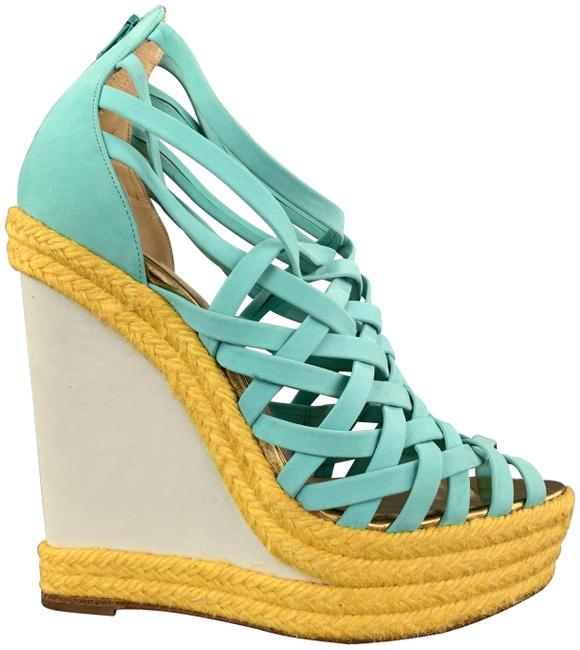 Item - Turquoise & Yellow Suede Woven Braided Platform Wedge Sandals Size US 7 Regular (M, B)