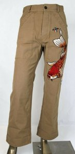 Gucci Medium Brown Washed Cotton Pant Fish/Ufo Patches Us 31 475250 9820 Groomsman Gift