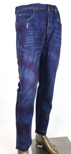 Gucci Dark Blue/Pink W Light Brown Washed Cotton Pant W/Gucci Print On Back Us 36 489281 2028 Groomsman Gift Image 1