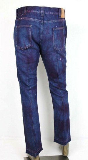 Gucci Dark Blue/Pink W Light Brown Washed Cotton Pant W/Gucci Print On Back Us 36 489281 2028 Groomsman Gift Image 3