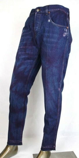 Gucci Dark Blue/Pink W Light Brown Washed Cotton Pant W/Gucci Print On Back Us 32 489281 2028 Groomsman Gift Image 2