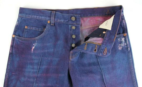 Gucci Dark Blue/Pink W Light Brown Washed Cotton Pant W/Gucci Print On Back Us 32 489281 2028 Groomsman Gift Image 5