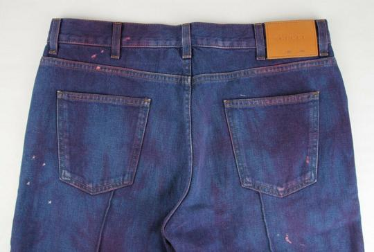 Gucci Dark Blue/Pink W Light Brown Washed Cotton Pant W/Gucci Print On Back Us 32 489281 2028 Groomsman Gift Image 6