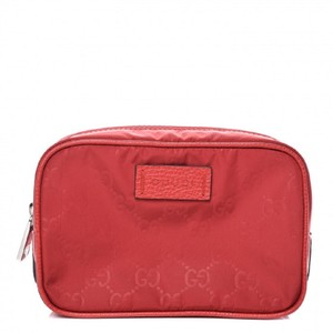 Gucci Gucci Mens Small Red Pouch GG Logo Zip Guccissima Nylon Bag 510341