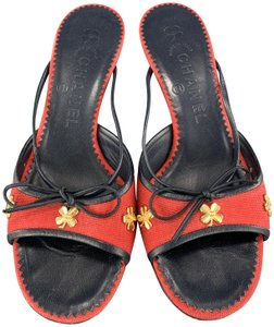 Chanel Vintage Kitten Heels Bow Canvas Gold Red & Navy Blue Mules