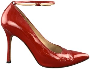 Manolo Blahnik Patent Leather Ankle Strap Pointed Toe Red Pumps