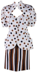 Vicky Tiel 1980's Vicky Tiel Couture Skirt Suit White w/ Brown & Black Polka Dots