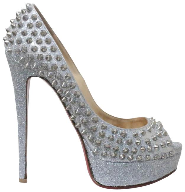 Item - Silver Lady Peep Spike Glitter Pumps Size EU 38 (Approx. US 8) Regular (M, B)