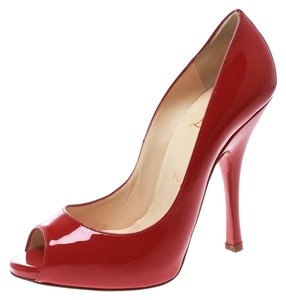 Christian Louboutin Patent Leather Peep Toe Red Pumps