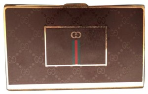 Gucci Vintage 80's GUCCI GG Monogram Supreme Brown Business Card Case Metal Hardcase Tin