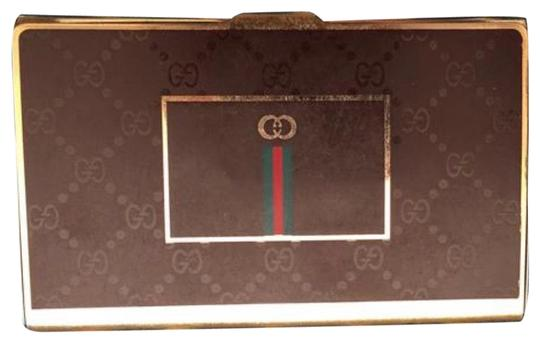 Preload https://img-static.tradesy.com/item/25931177/gucci-brown-green-red-gold-vintage-80-s-gg-monogram-supreme-business-card-case-metal-hardcase-tin-0-1-540-540.jpg