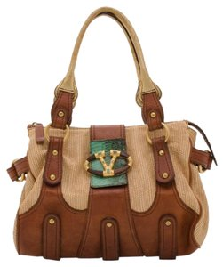 Valentino Leather Canvas Satchel in Brown