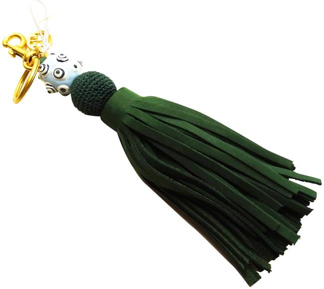 Item - Multi-color Gold Plated Green Leather Tassel Key Fob