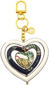 Tory Burch TORY BURCH Multi-Color Leather Heart Shape Key Fob