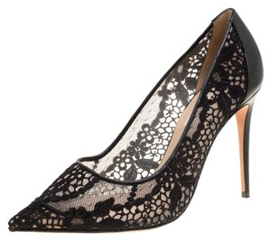 Valentino Lace Pointed Toe Mesh Black Pumps