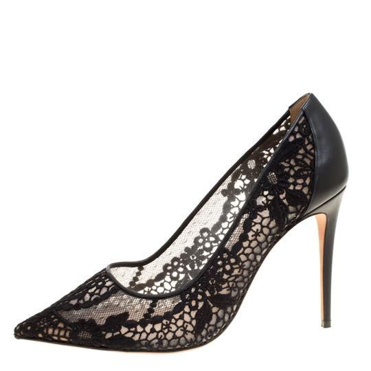 Valentino Lace Pointed Toe Mesh Black Pumps Image 1