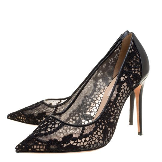Valentino Lace Pointed Toe Mesh Black Pumps Image 3