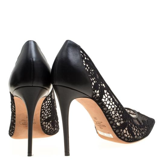 Valentino Lace Pointed Toe Mesh Black Pumps Image 4