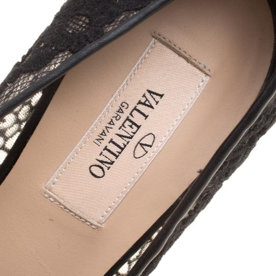 Valentino Lace Pointed Toe Mesh Black Pumps Image 5