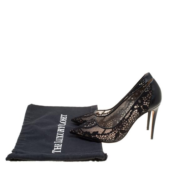 Valentino Lace Pointed Toe Mesh Black Pumps Image 7