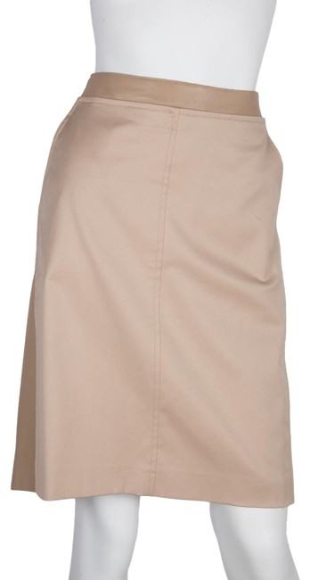 Akris Beige Leather Pannel Skirt Size 14 (L, 34) Akris Beige Leather Pannel Skirt Size 14 (L, 34) Image 1