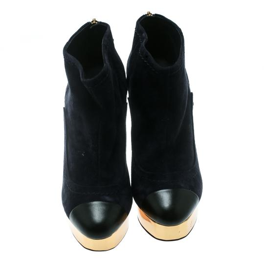 Chanel Suede Leather Blue Boots Image 2
