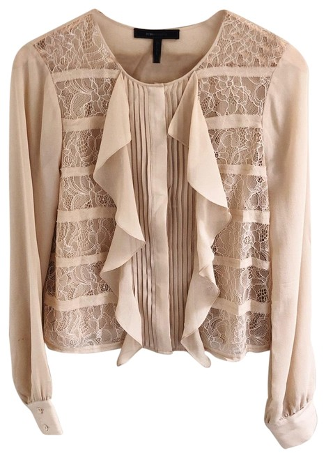 Preload https://img-static.tradesy.com/item/25931899/bcbgmaxazria-pink-tan-cait-lace-blouse-size-4-s-0-1-650-650.jpg