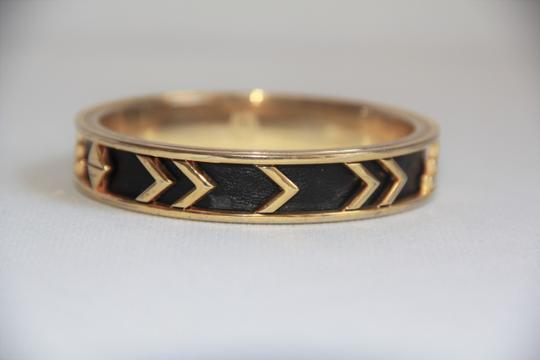 House of Harlow 1960 HOUSE OF HARLOW 1960 Aztec Black Leather and 14kt Gold Plated Bangle Image 2