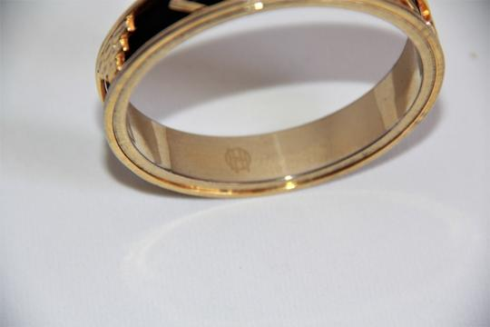 House of Harlow 1960 HOUSE OF HARLOW 1960 Aztec Black Leather and 14kt Gold Plated Bangle Image 3