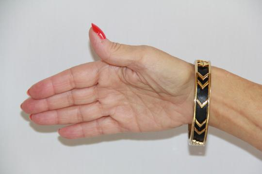House of Harlow 1960 HOUSE OF HARLOW 1960 Aztec Black Leather and 14kt Gold Plated Bangle Image 4
