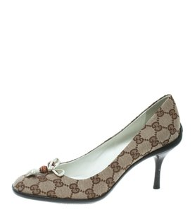 Gucci Canvas Bamboo Tassels Beige Pumps
