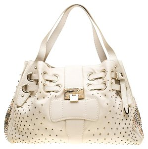 Jimmy Choo Leather Tote in Cream