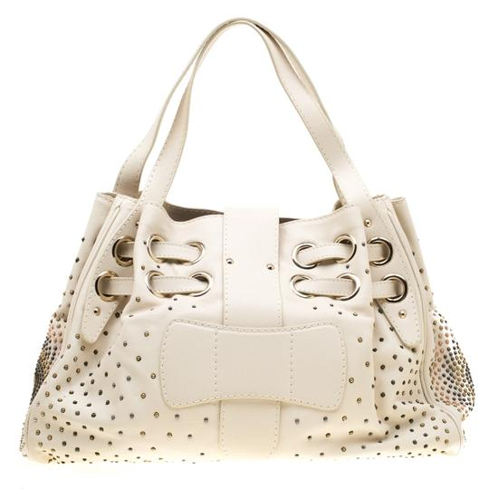 Jimmy Choo Leather Tote in Cream Image 1