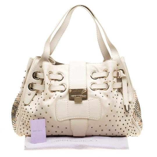 Jimmy Choo Leather Tote in Cream Image 10