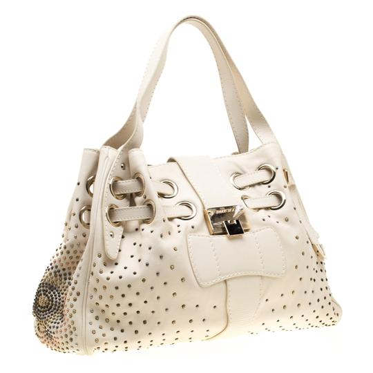 Jimmy Choo Leather Tote in Cream Image 4