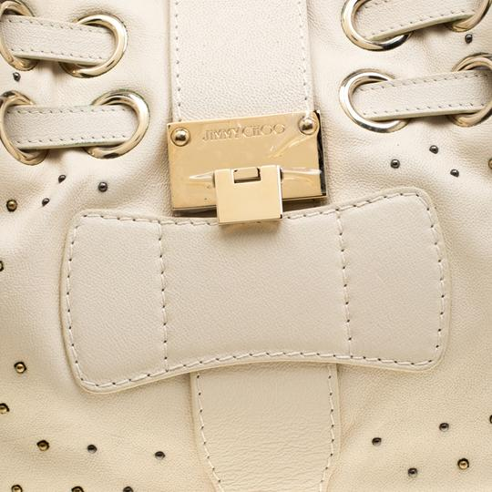 Jimmy Choo Leather Tote in Cream Image 9