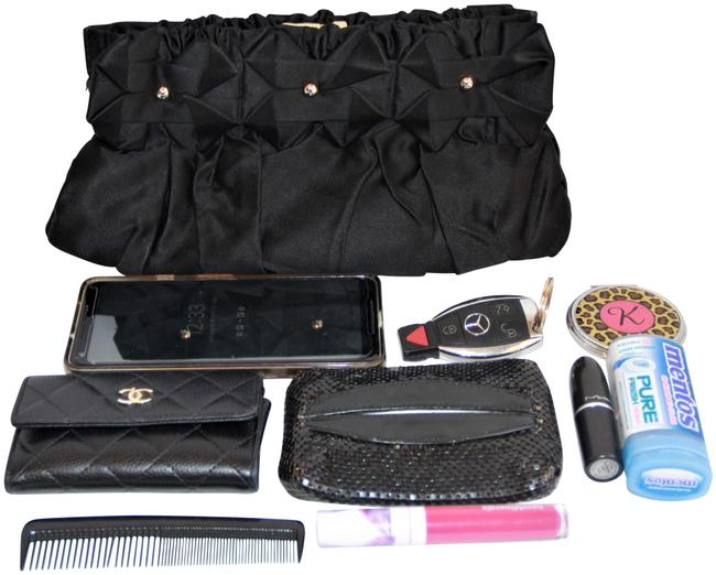 Item - Made In Italy Silk Gathered Embellished Black Clutch