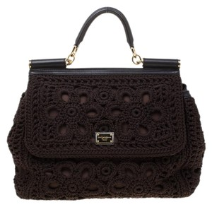 Dolce&Gabbana Leather Crochet Shoulder Bag