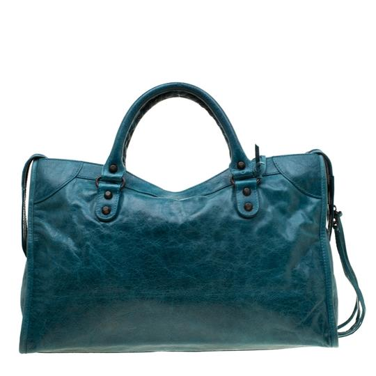 Balenciaga Leather Tote in Blue Image 1