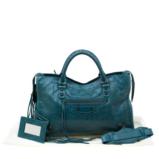 Balenciaga Leather Tote in Blue Image 11