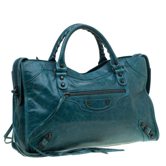 Balenciaga Leather Tote in Blue Image 3