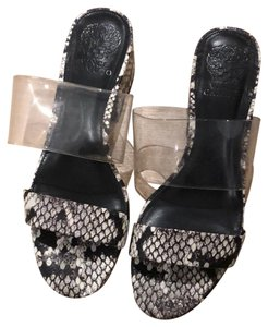 Vince Camuto clear, black and white Sandals