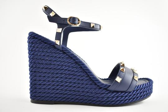 Valentino Studded Pointed Toe Leather Ankle Strap Stiletto blue Wedges Image 1