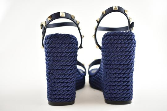 Valentino Studded Pointed Toe Leather Ankle Strap Stiletto blue Wedges Image 10