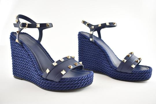 Valentino Studded Pointed Toe Leather Ankle Strap Stiletto blue Wedges Image 3
