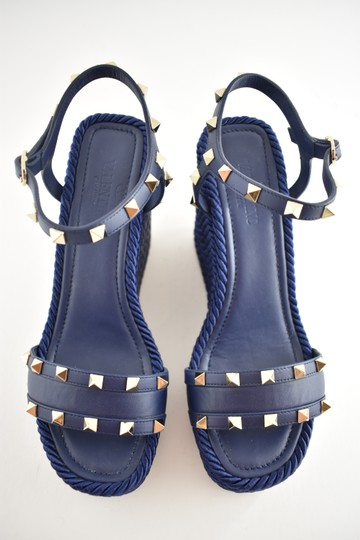 Valentino Studded Pointed Toe Leather Ankle Strap Stiletto blue Wedges Image 6